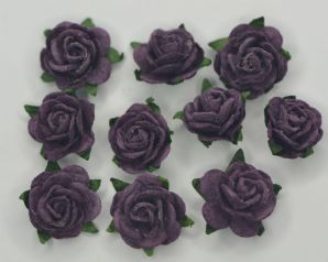 1.5cm AUBERGINE PURPLE Mulberry Paper Roses (only flower head)